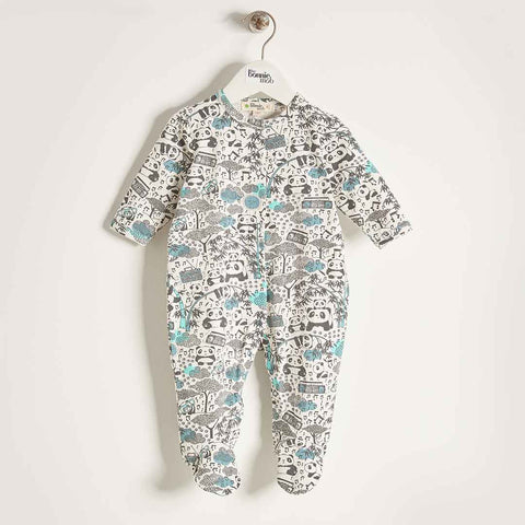 Bonnie Mob Sleepsuit - Panda Print Blues