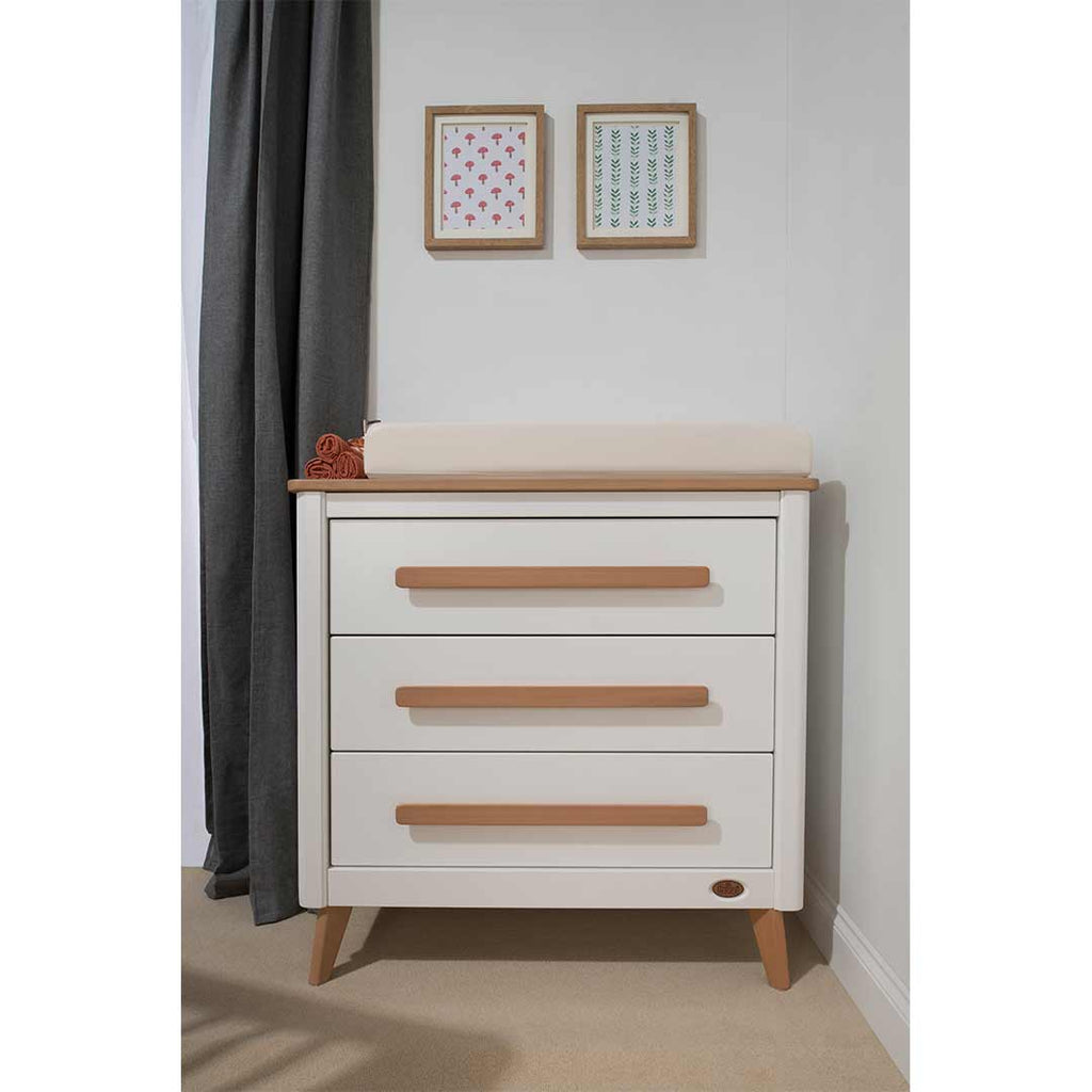 Boori Perla 3 Drawer Chest - White & Nutmeg-Dressers & Chests- Natural Baby Shower
