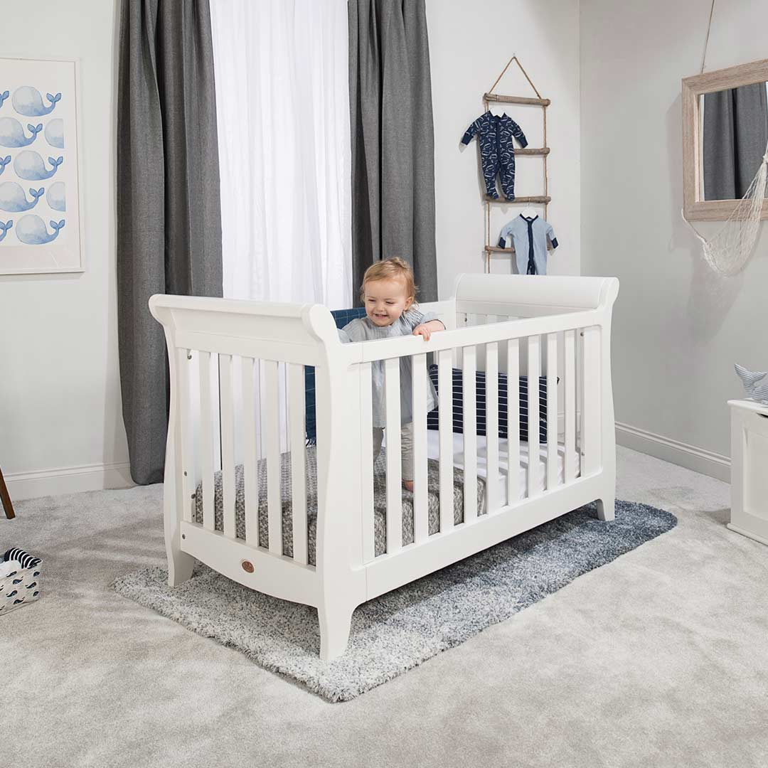 Boori Sleigh Expandable Cot Bed in Barley White – Natural ...