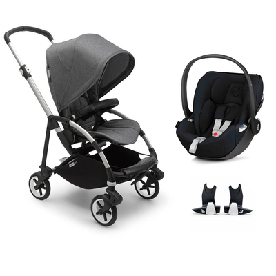 Bugaboo Bee 6 Cloud Z Travel System - Aluminium + Grey Melange-Travel Systems-No Carrycot-No Base- Natural Baby Shower