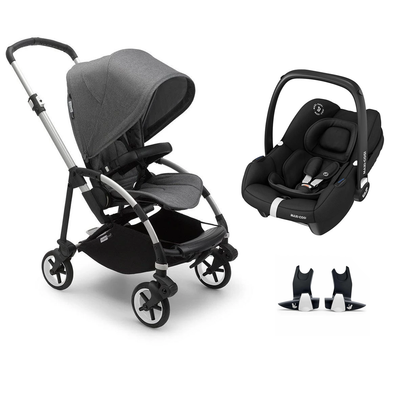 Bugaboo Bee 6 Tinca Travel System - Aluminium + Grey Melange-Travel Systems-No Carrycot-No Base- Natural Baby Shower