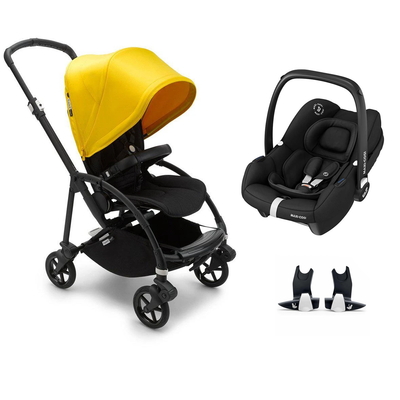Bugaboo Bee 6 Tinca Travel System - Black + Lemon Yellow-Travel Systems-No Carrycot-No Base- Natural Baby Shower