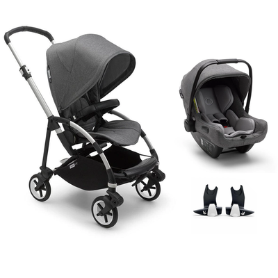 Bugaboo Bee 6 Turtle Travel System - Aluminium + Grey Melange-Travel Systems-No Carrycot-No Base- Natural Baby Shower