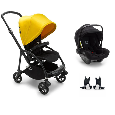 Bugaboo Bee 6 Turtle Travel System - Black + Lemon Yellow-Travel Systems-No Carrycot-No Base- Natural Baby Shower