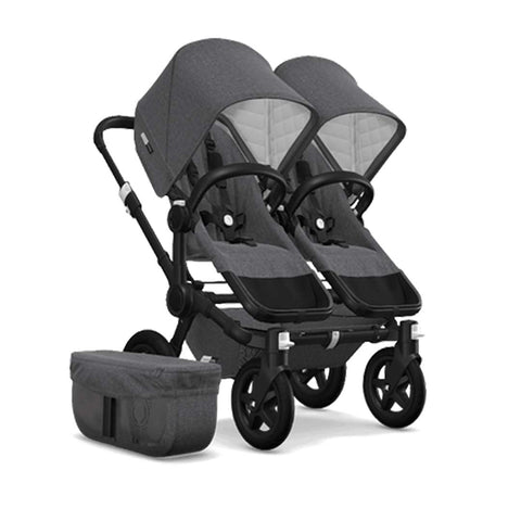 Bugaboo Donkey2 Classic+ Twin Pushchair - Black + Grey Melange-Strollers- Natural Baby Shower