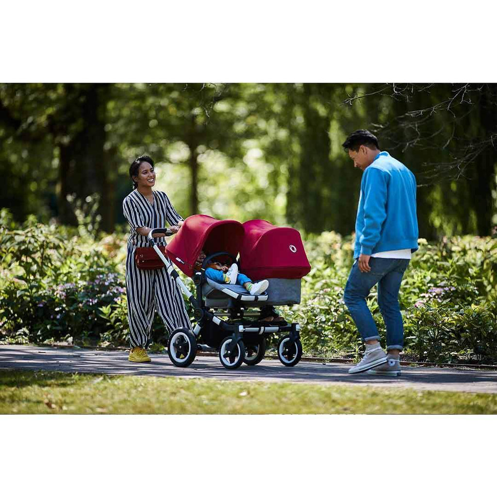 Bugaboo Donkey2 Duo Pushchair - Aluminium, Black + Ruby Red-Strollers- Natural Baby Shower