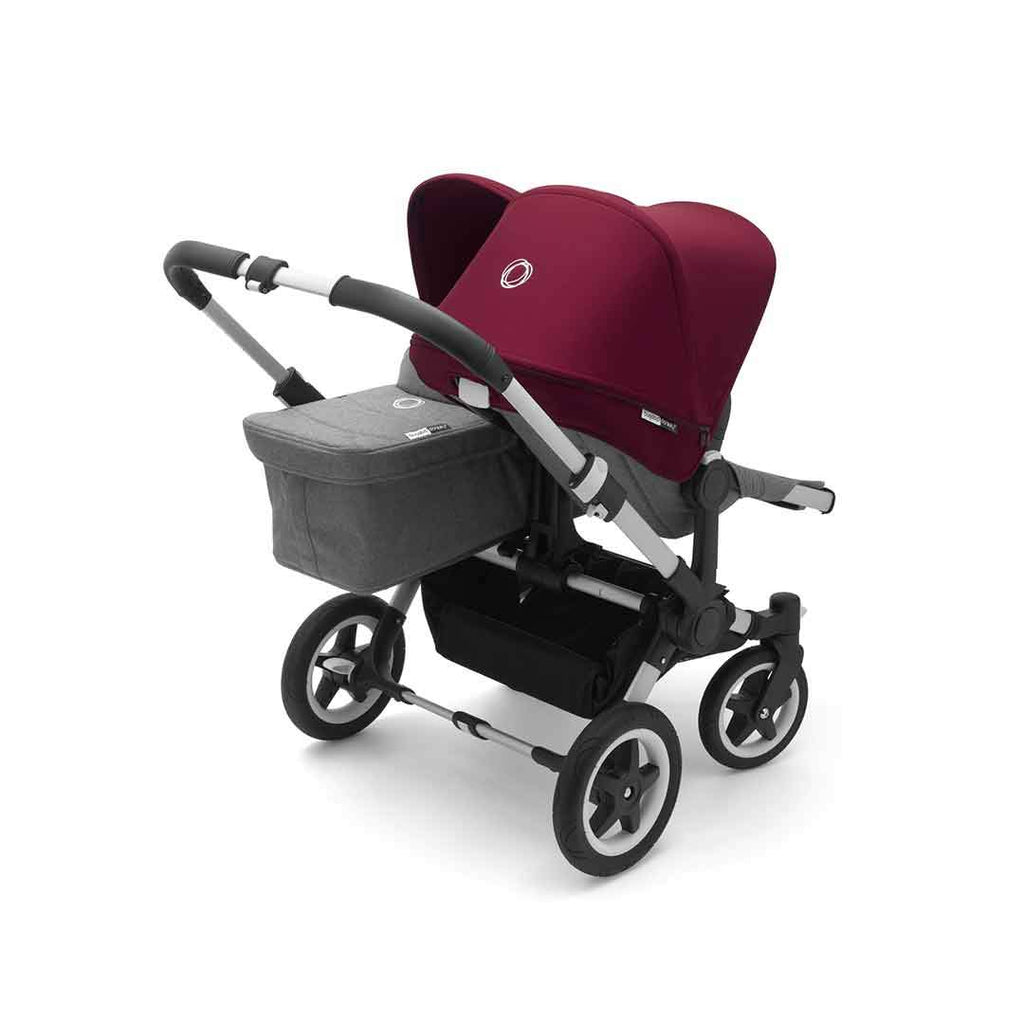 Bugaboo Donkey2 Duo Pushchair Aluminium, Black + Ruby Red
