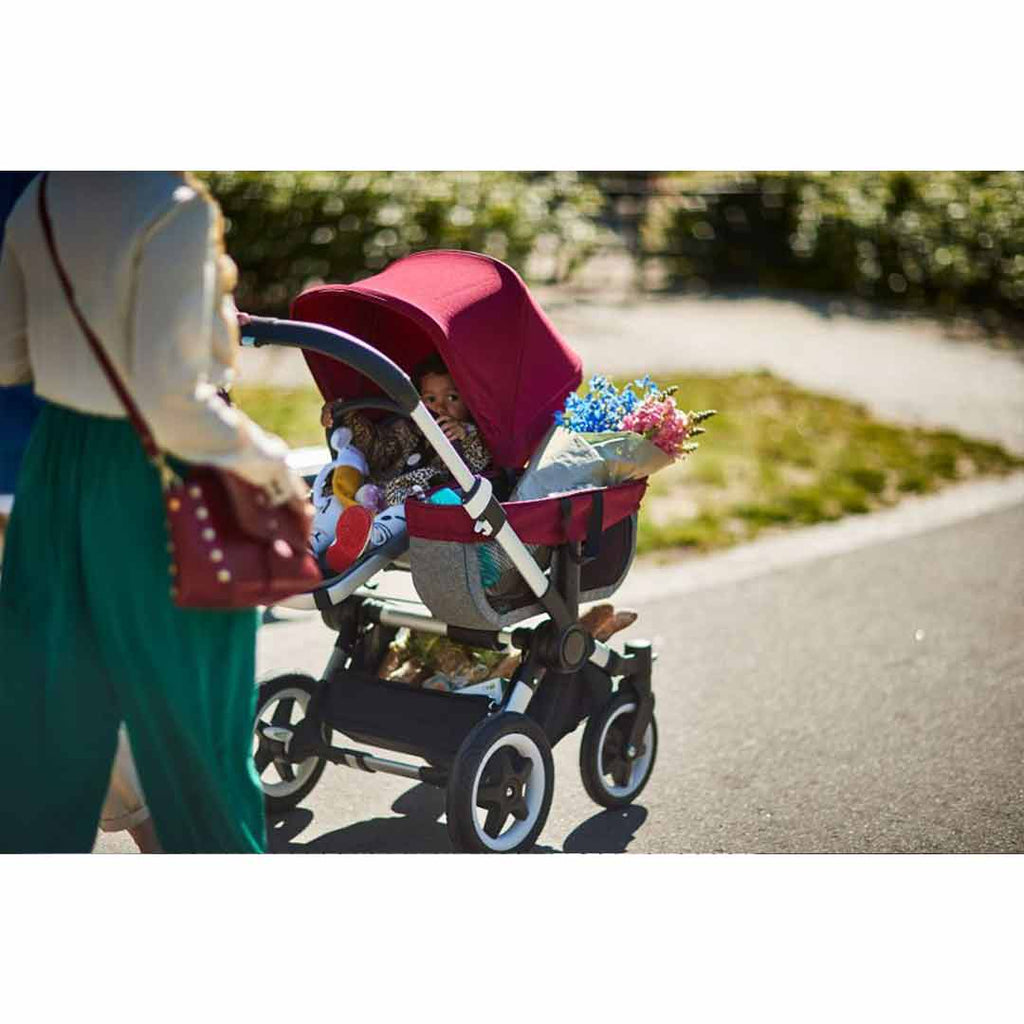 Bugaboo Donkey2 Mono Pushchair - Aluminium, Grey + Ruby Red-Strollers- Natural Baby Shower