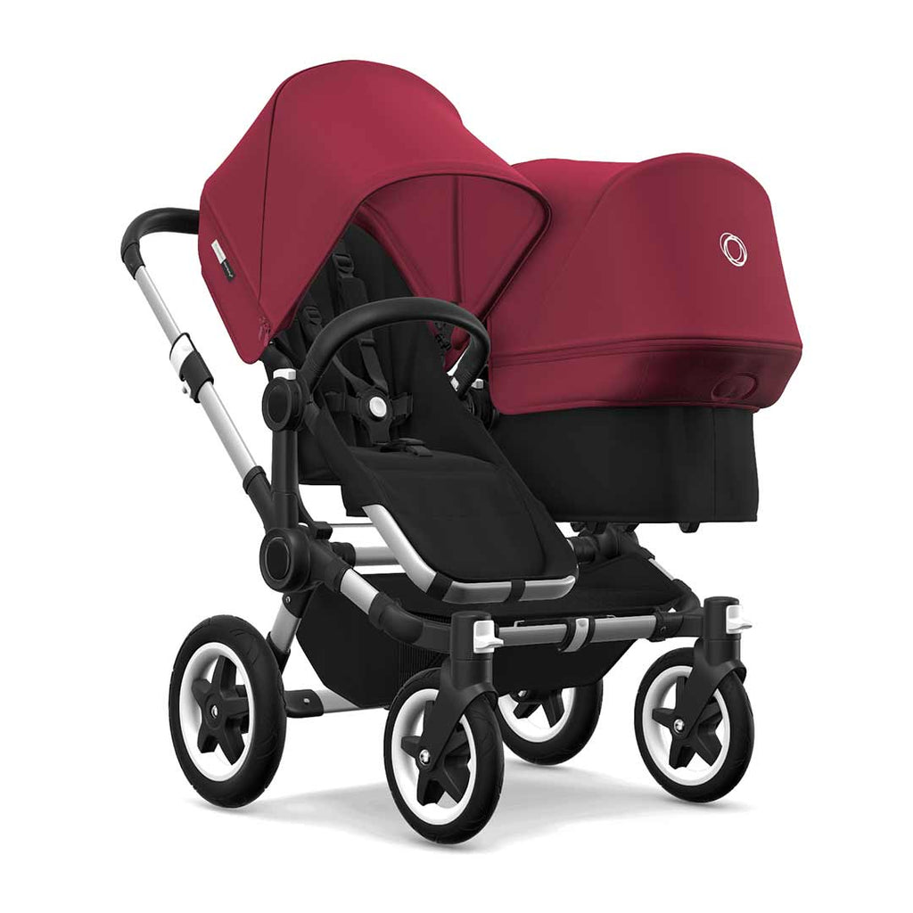 Bugaboo Donkey2 Duo Pushchair - Aluminium, Black + Ruby Red