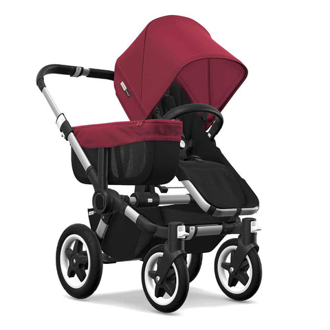 Bugaboo Donkey2 Mono Pushchair - Aluminium + Black + Ruby Red