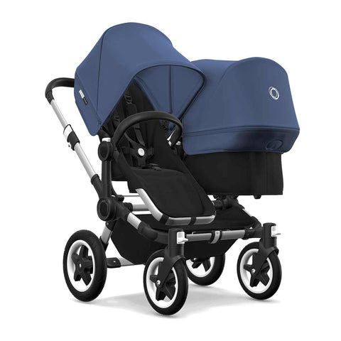 Bugaboo Donkey2 Duo Pushchair - Aluminium, Black + Sky Blue