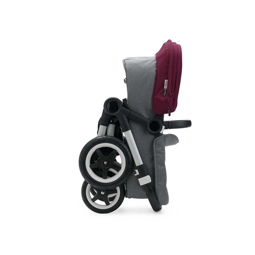Bugaboo Donkey2 Duo Pushchair - Aluminium, Black + Ruby Red Folded