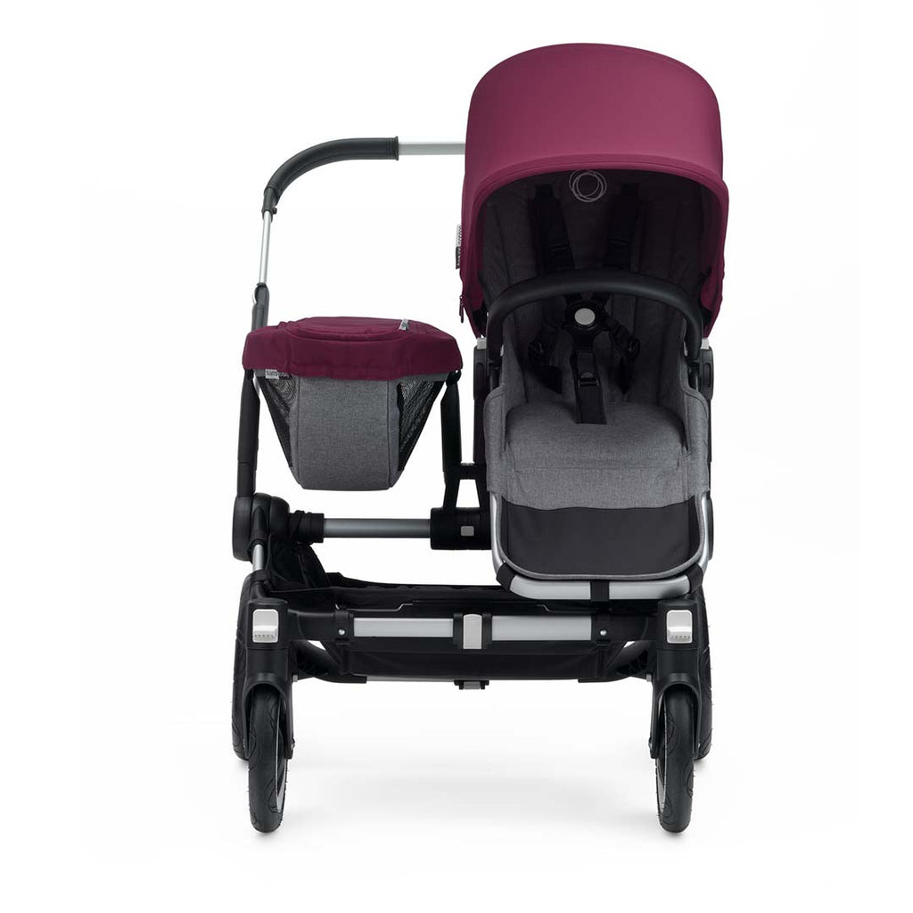Bugaboo Donkey2 Mono Pushchair - Aluminium with Ruby Red Front 2