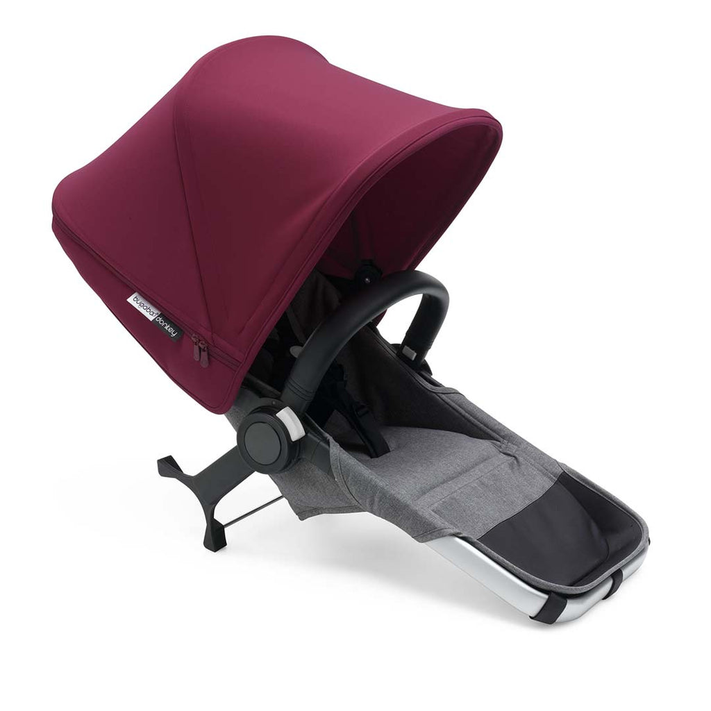 Bugaboo Donkey2 Mono Pushchair - Aluminium with Ruby Red Seat 2