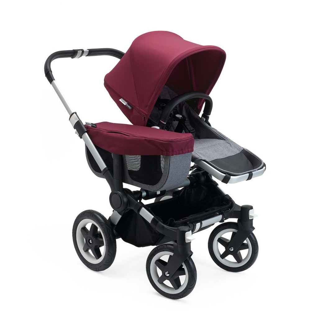 Bugaboo Donkey2 Mono Pushchair - Aluminium with Ruby Red Seat