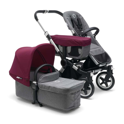 Bugaboo Donkey2 Mono Pushchair - Aluminium with Ruby Red