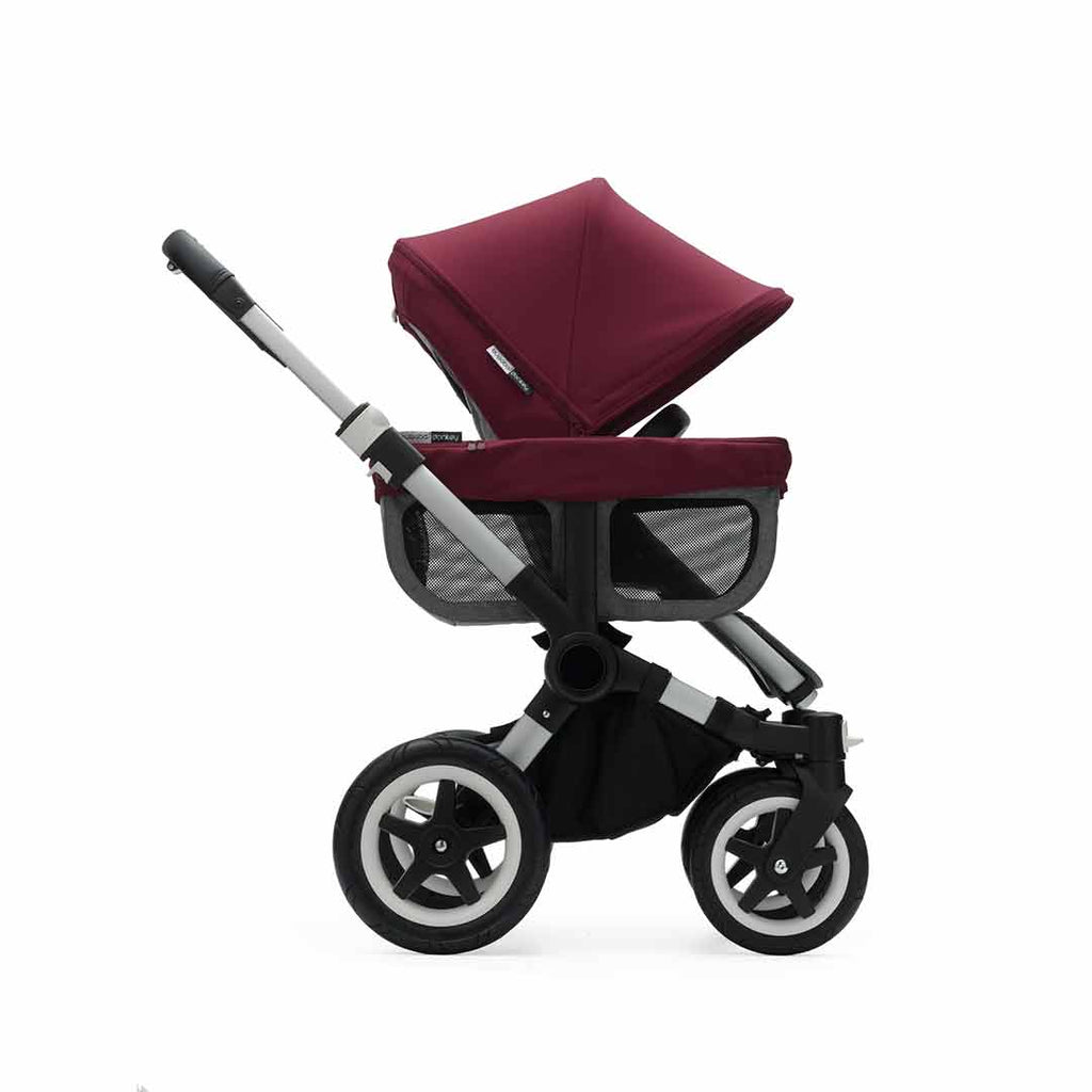 Bugaboo Donkey2 Duo Pushchair - Aluminium, Black + Ruby Red Side
