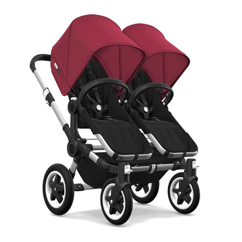 Bugaboo Donkey2 Twin Pushchair - Aluminium, Black + Ruby Red