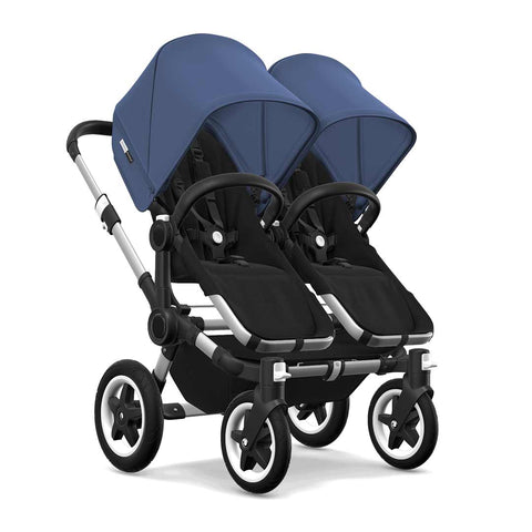 Bugaboo Donkey2 Twin Pushchair - Aluminium, Black + Sky Blue