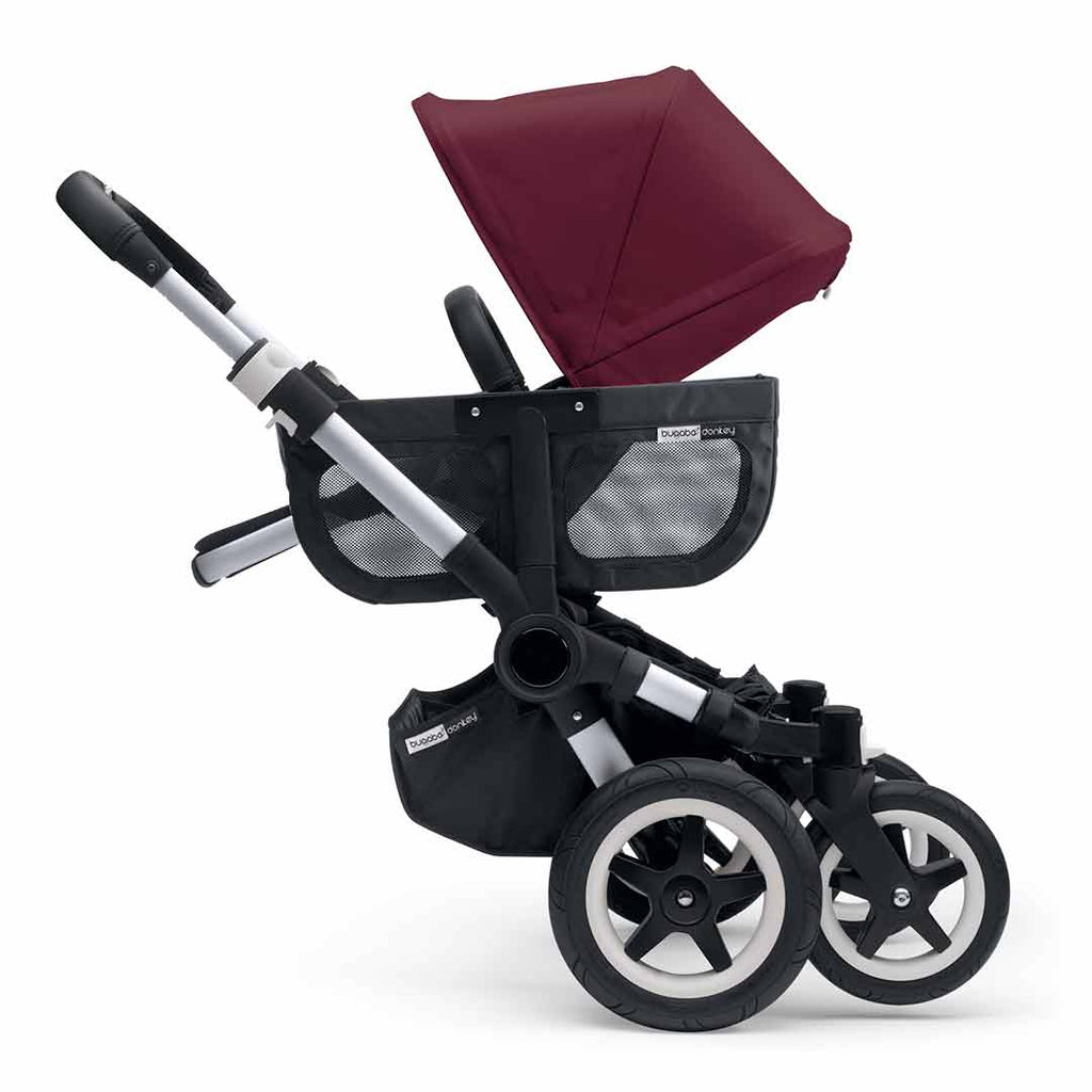 Bugaboo Donkey2 Duo Pushchair - Aluminium, Black + Ruby Red Wheels