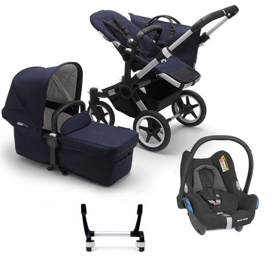 Bugaboo Donkey3 Complete CabrioFix Travel System - Aluminium + Dark Navy-Travel Systems-Mono-No Base- Natural Baby Shower