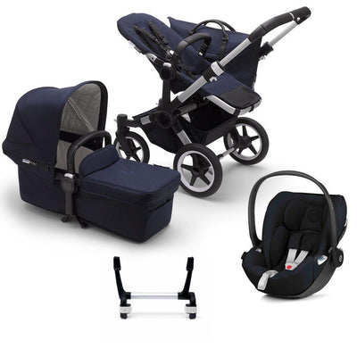 Bugaboo Donkey3 Complete Cloud Z Travel System - Aluminium + Dark Navy-Travel Systems-Mono-No Base- Natural Baby Shower