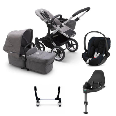 Bugaboo Donkey3 Complete Cloud Z Travel System - Aluminium + Grey Melange-Travel Systems-Mono-No Base- Natural Baby Shower