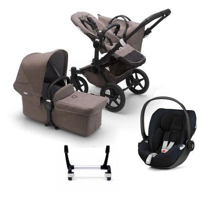 Bugaboo Donkey3 Complete Cloud Z Travel System - Black + Mineral Taupe-Travel Systems-Mono-No Base- Natural Baby Shower