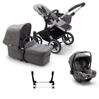 Bugaboo Donkey3 Complete Turtle Travel System - Aluminium + Grey Melange-Travel Systems-Mono-No Base- Natural Baby Shower