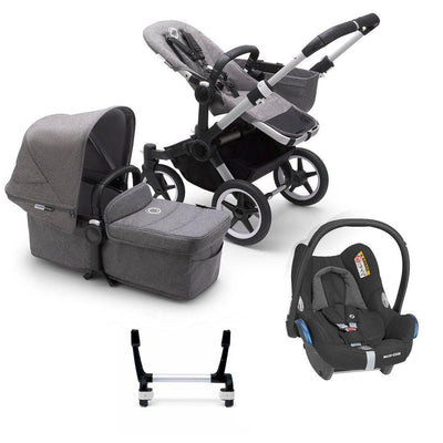 Bugaboo Donkey3 Complete CabrioFix Travel System - Aluminium + Grey Melange-Travel Systems-Mono-No Base- Natural Baby Shower