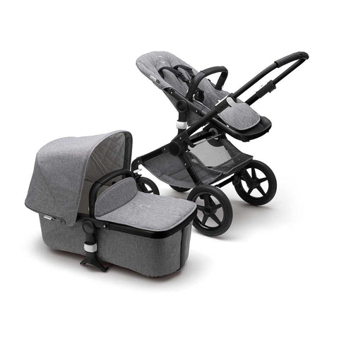Bugaboo Fox Classic+ Pushchair - Black + Grey Melange-Strollers- Natural Baby Shower