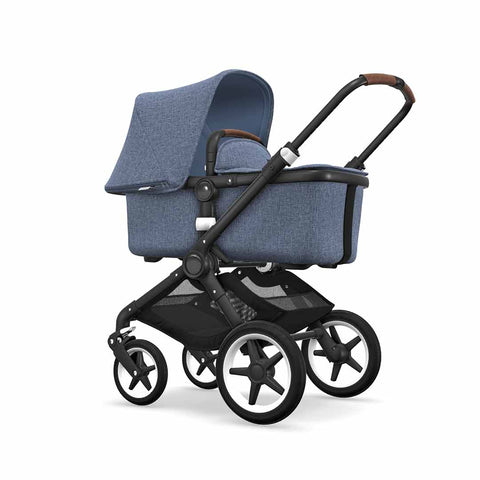 Bugaboo Fox Pushchair - Black with Blue Melange-Strollers- Natural Baby Shower