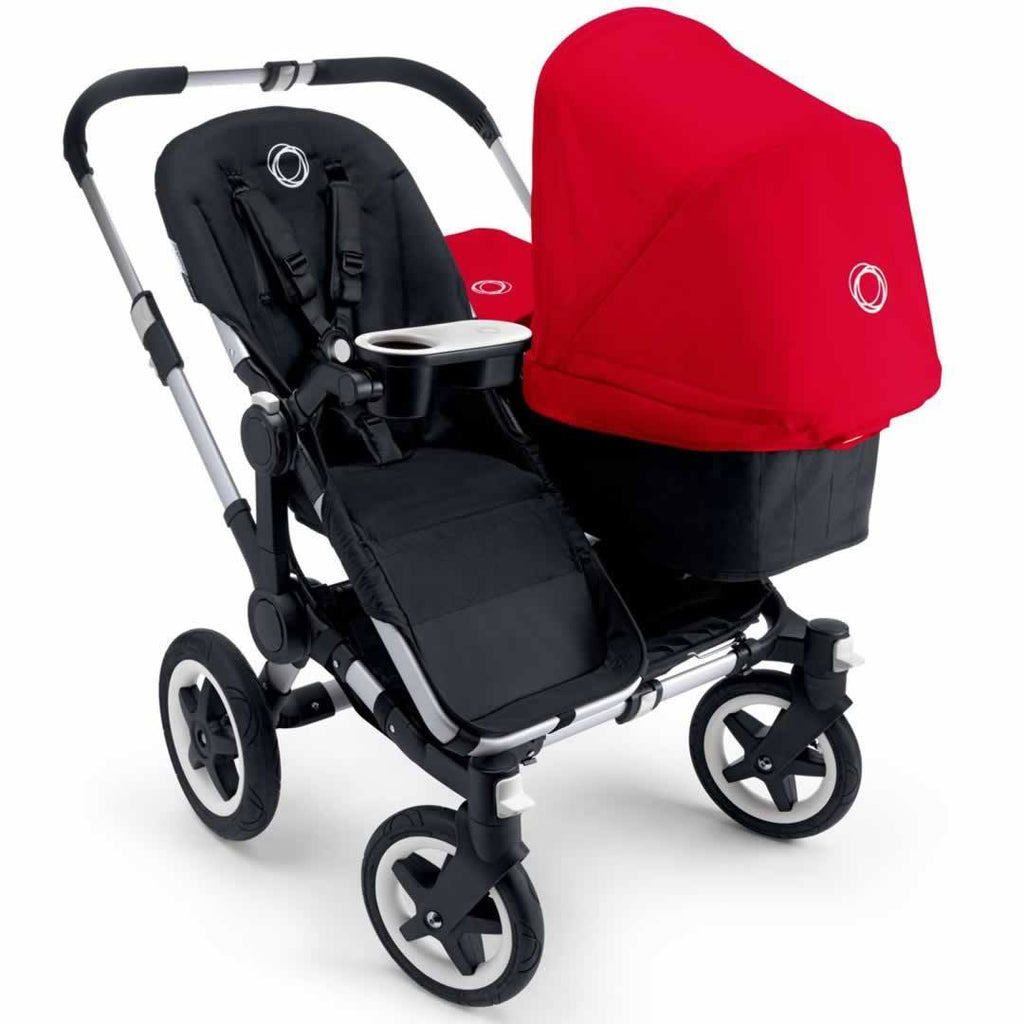 Bugaboo Donkey Duo Pushchair Aluminium with Red Seat & Carrycot