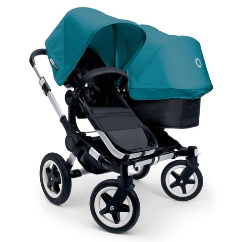 Bugaboo Donkey+ Duo Pushchair in Aluminium with Petrol Blue