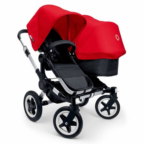 Bugaboo Donkey Duo Pushchair in Aluminium with Red