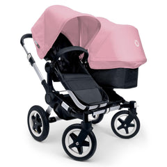 Bugaboo Donkey+ Duo Pushchair in Aluminium with Soft Pink