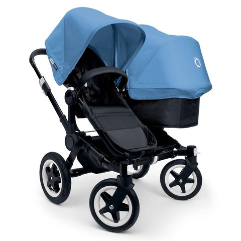 Bugaboo Donkey+ Duo Pushchair - Black with Ice Blue - Strollers - Natural Baby Shower