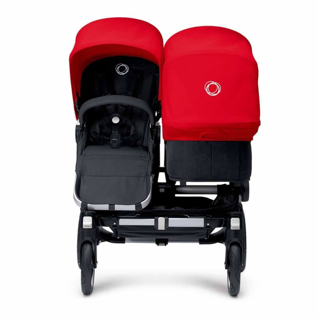 Bugaboo Donkey Duo Pushchair Aluminium with Red Front