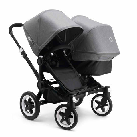 Bugaboo Donkey+ Duo Pushchair - Black with Grey Melange - Strollers - Natural Baby Shower