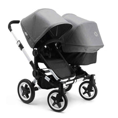 Bugaboo Donkey+ Duo Pushchair in Aluminium with Grey Melange