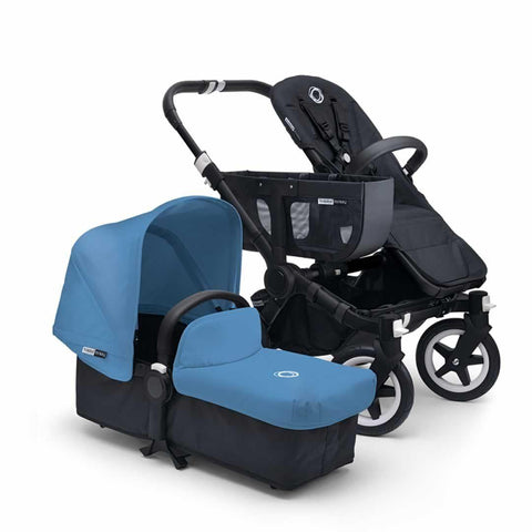 Bugaboo Donkey+ Mono Pushchair - Black with Ice Blue - Strollers - Natural Baby Shower