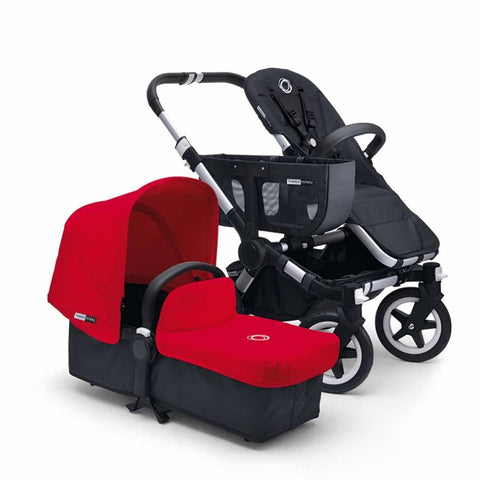 Bugaboo Donkey+ Mono Pushchair - Aluminium with Red - Strollers - Natural Baby Shower