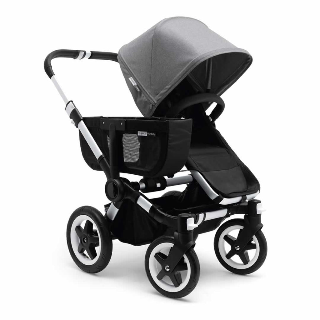 Bugaboo Donkey+ Mono Pushchair - Aluminium with Grey Melange Front