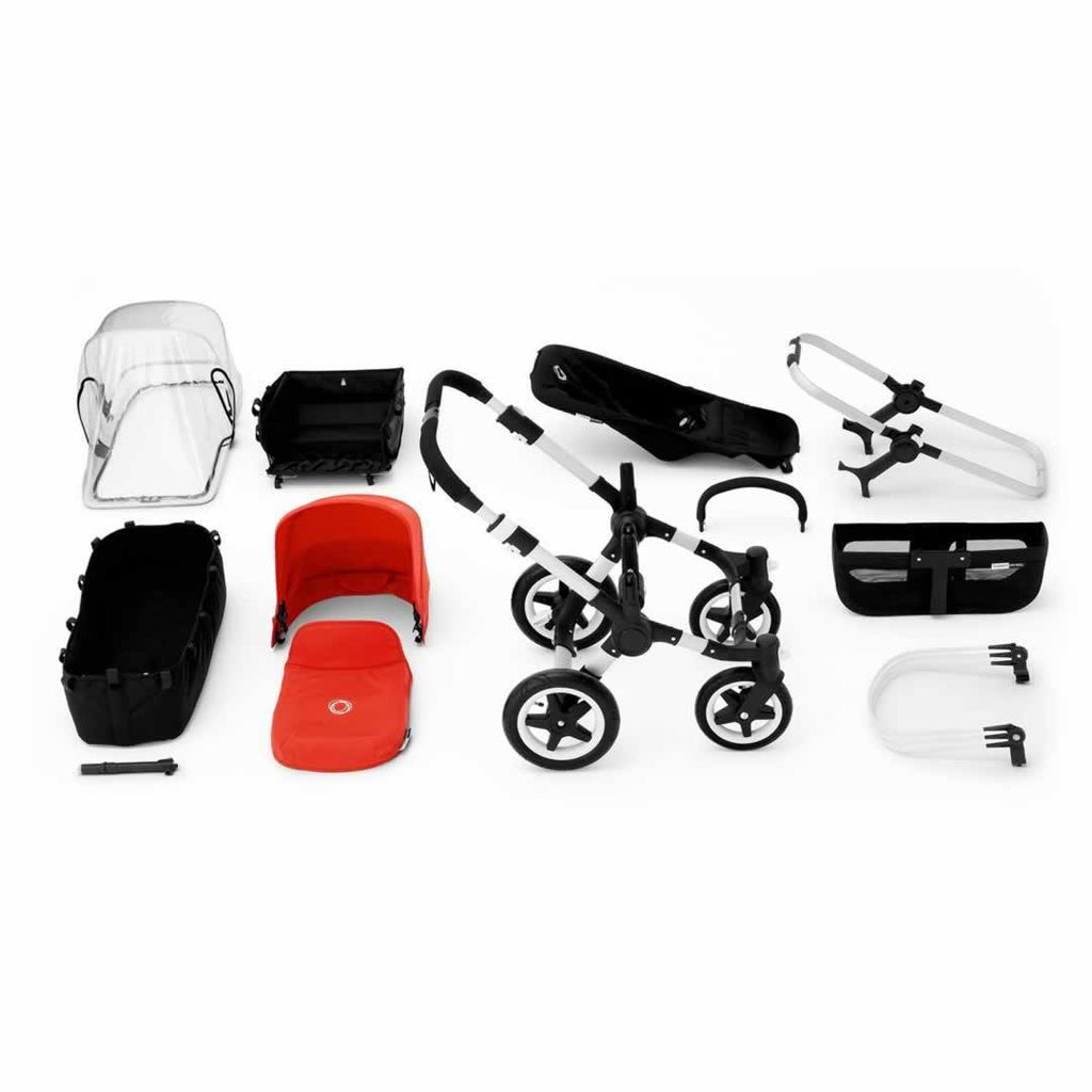 Bugaboo Donkey+ Mono Pushchair Red with Aluminium What you Get