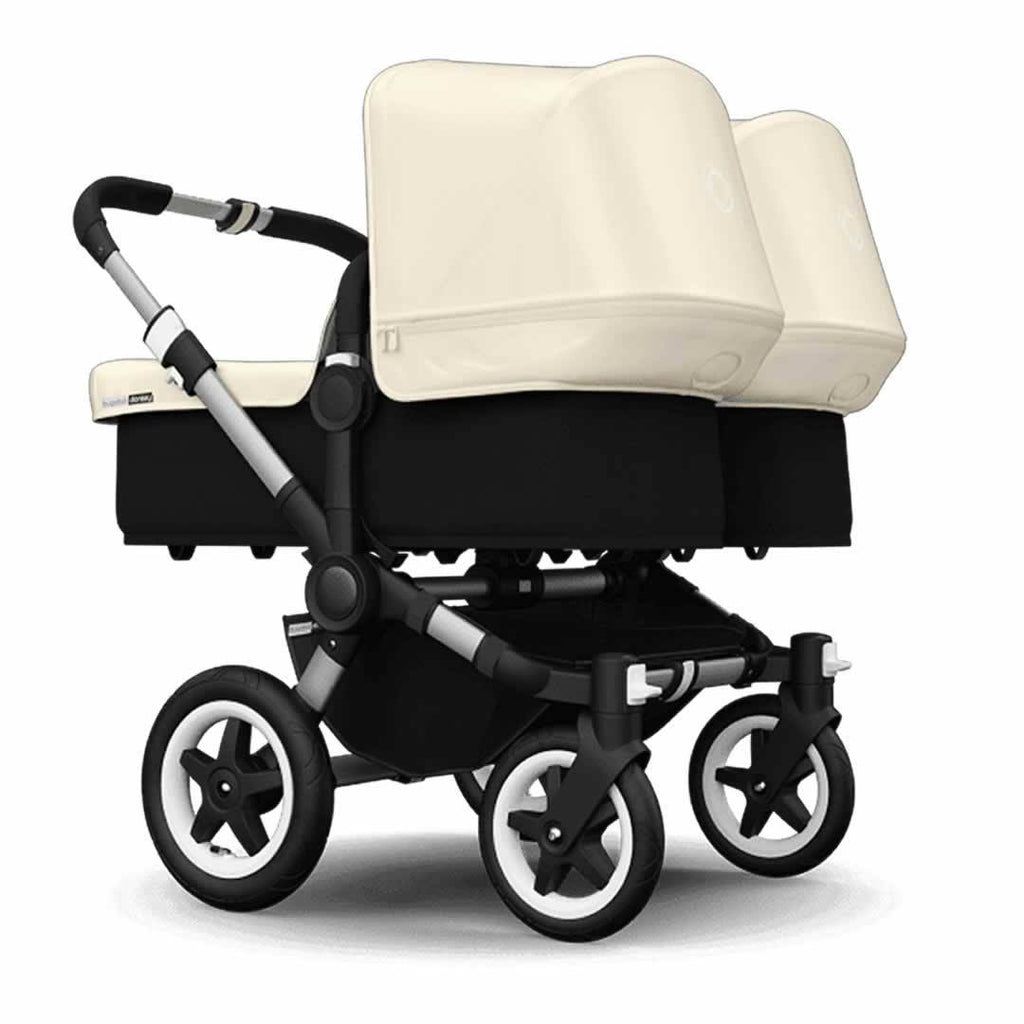 Bugaboo Donkey+ Twin Pushchair in Aluminium with Off White