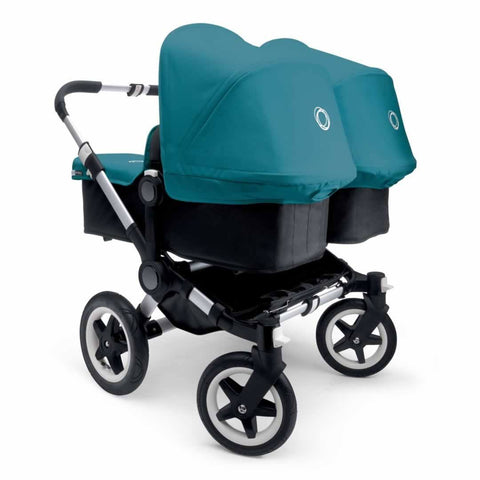 Bugaboo Donkey+ Twin Pushchair in Aluminium with Petrol Blue