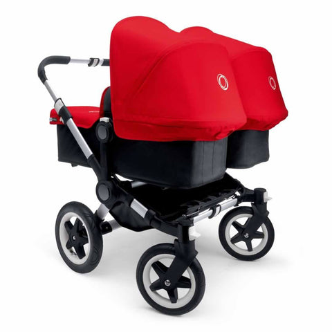 Bugaboo Donkey+ Twin Pushchair in Aluminium with Red