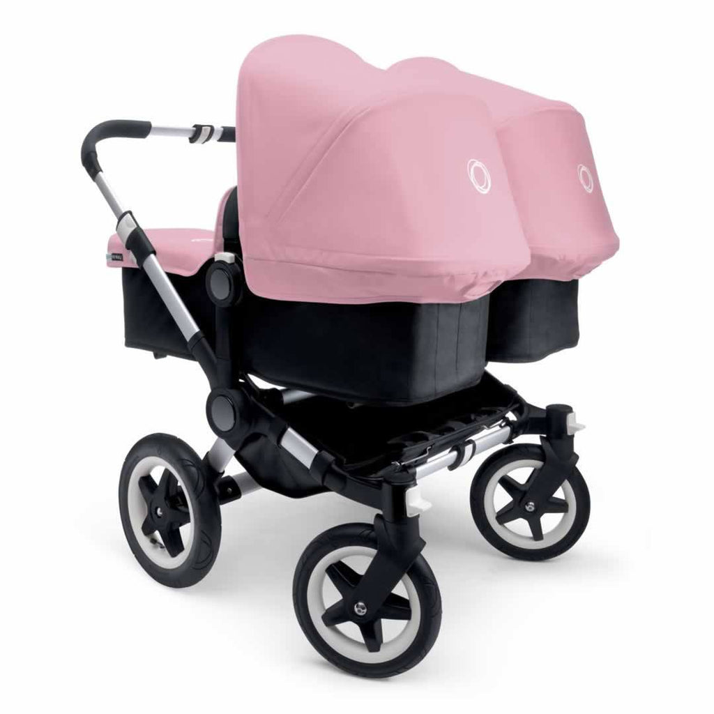 Bugaboo Donkey+ Twin Pushchair in Aluminium with Soft Pink