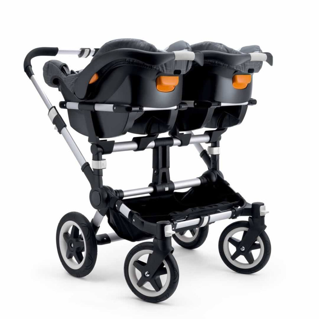 Bugaboo Donkey+ Twin Pushchair Aluminium with Petrol Blue Car Seats