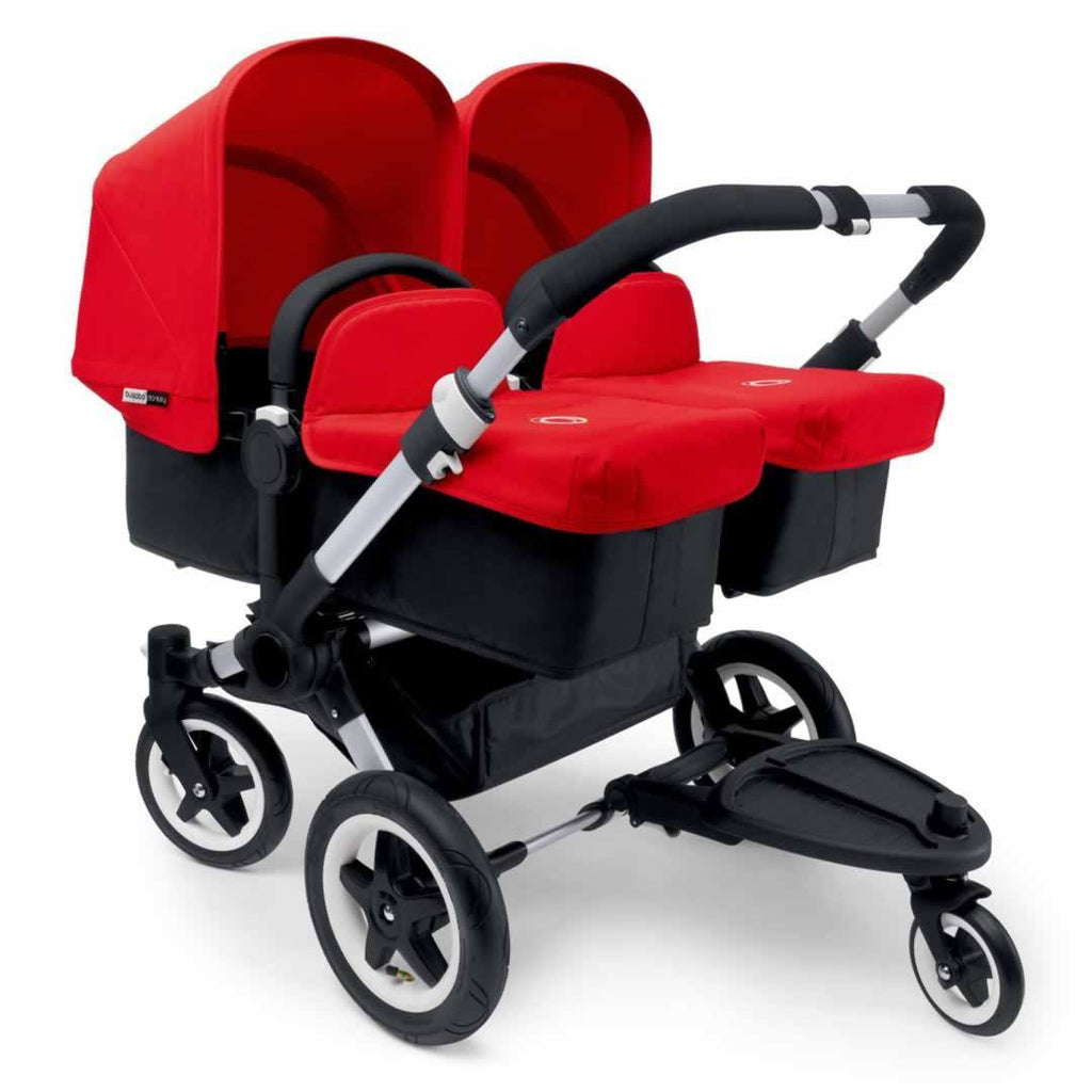 Bugaboo Donkey+ Twin Pushchair Aluminium with Red Carrycots